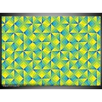 Foto canvas schilderij Modern | Blauw, Geel, Groen