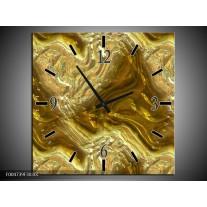 Wandklok op Canvas Modern | Kleur: Bruin, Goud | F004739C