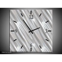 Wandklok op Canvas Modern   Kleur: Zilver, Wit   F004742C