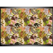 Foto canvas schilderij Modern | Groen, Geel, Bruin