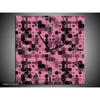 Wandklok op Canvas Modern | Kleur: Roze, Paars, Zwart | F004752C