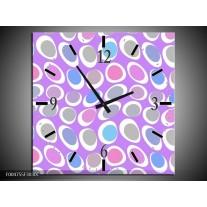 Wandklok op Canvas Modern | Kleur: Paars, Blauw, Roze | F004755C