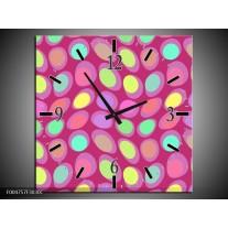 Wandklok op Canvas Modern | Kleur: Roze, Geel, Groen | F004757C