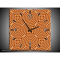 Wandklok op Canvas Modern | Kleur: Oranje, Geel, Zwart | F004762C