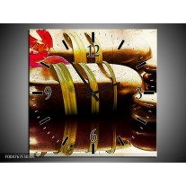 Wandklok op Canvas Spa   Kleur: Paars, Bruin, Groen   F004767C