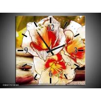 Wandklok op Canvas Bloem | Kleur: Wit, Rood, Geel | F004771C