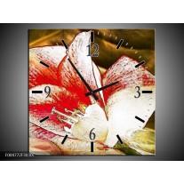 Wandklok op Canvas Bloem | Kleur: Wit, Rood, Geel | F004772C