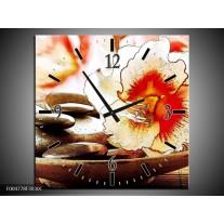 Wandklok op Canvas Bloem | Kleur: Wit, Rood, Geel | F004778C