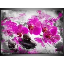 Foto canvas schilderij Orchidee | Roze, Grijs, Wit