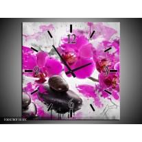 Wandklok op Canvas Orchidee | Kleur: Roze, Grijs, Wit | F004780C