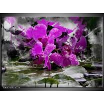 Foto canvas schilderij Orchidee | Paars, Grijs, Wit