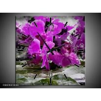 Wandklok op Canvas Orchidee | Kleur: Paars, Grijs, Wit | F004783C