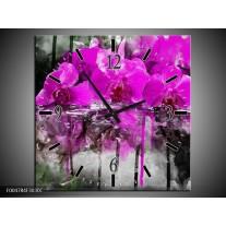 Wandklok op Canvas Orchidee | Kleur: Paars, Grijs, Wit | F004784C