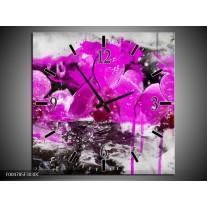 Wandklok op Canvas Orchidee | Kleur: Paars, Grijs, Wit | F004785C