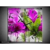 Wandklok op Canvas Orchidee | Kleur: Paars, Groen, Grijs | F004787C