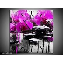 Wandklok op Canvas Orchidee | Kleur: Paars, Grijs, Wit | F004788C
