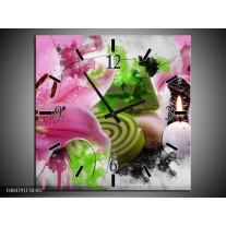 Wandklok op Canvas Bloem | Kleur: Roze, Groen, Wit | F004791C