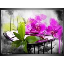Foto canvas schilderij Orchidee | Paars, Groen, Wit