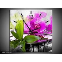 Wandklok op Canvas Orchidee | Kleur: Paars, Groen, Wit | F004792C