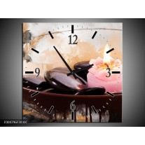 Wandklok op Canvas Spa | Kleur: Roze, Bruin, Geel | F004796C