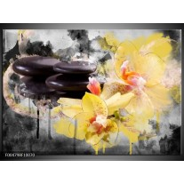 Foto canvas schilderij Spa | Geel, Zwart, Grijs