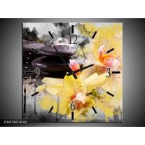 Wandklok op Canvas Spa | Kleur: Geel, Zwart, Grijs | F004798C