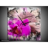 Wandklok op Canvas Orchidee | Kleur: Paars, Grijs | F004799C