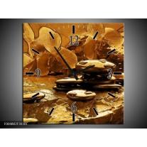 Wandklok op Canvas Orchidee   Kleur: Bruin   F004802C