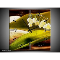 Wandklok op Canvas Bloem | Kleur: Groen, Wit, Bruin | F004815C