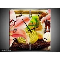 Wandklok op Canvas Bloem   Kleur: Roze, Groen, Wit   F004816C
