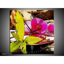 Wandklok op Canvas Orchidee | Kleur: Paars, Groen, Bruin | F004817C