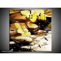 Wandklok op Canvas Spa | Kleur: Geel, Bruin, Wit | F004818C
