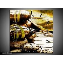 Wandklok op Canvas Spa | Kleur: Geel, Bruin, Wit | F004819C