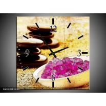 Wandklok op Canvas Spa | Kleur: Roze, Geel, Bruin | F004822C