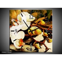 Wandklok op Canvas Orchidee | Kleur: Bruin, Wit, Groen | F004827C