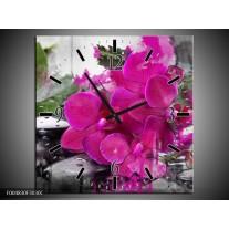 Wandklok op Canvas Orchidee | Kleur: Paars, Groen, Grijs | F004830C