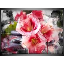 Foto canvas schilderij Bloem | Rood, Wit, Grijs