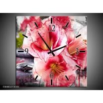 Wandklok op Canvas Bloem | Kleur: Rood, Wit, Grijs | F004832C