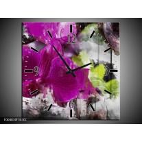 Wandklok op Canvas Bloem | Kleur: Paars, Groen, Grijs | F004834C