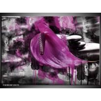 Foto canvas schilderij Bloem | Paars, Grijs, Wit