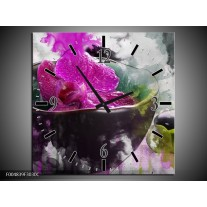 Wandklok op Canvas Bloem | Kleur: Paars, Grijs, Wit | F004839C
