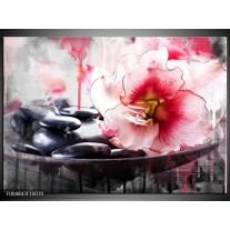Foto canvas schilderij Bloem   Rood, Grijs, Wit