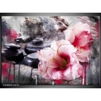 Foto canvas schilderij Bloem | Rood, Grijs, Wit