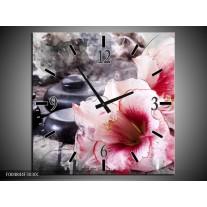 Wandklok op Canvas Bloem | Kleur: Rood, Grijs, Wit | F004844C