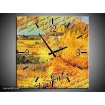 Wandklok op Canvas Klassiek   Kleur: Geel, Bruin   F004849C