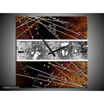 Wandklok op Canvas Modern   Kleur: Bruin, Grijs, Geel   F004852C