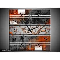 Wandklok op Canvas Modern | Kleur: Oranje, Bruin, Grijs | F004854C