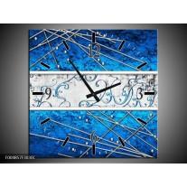 Wandklok op Canvas Modern | Kleur: Blauw, Zwart | F004857C