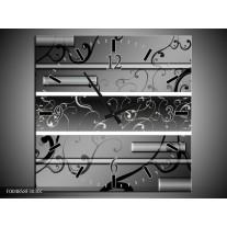 Wandklok op Canvas Modern | Kleur: Grijs, Zwart, Wit | F004858C