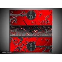 Wandklok op Canvas Modern | Kleur: Rood, Zwart, Grijs | F004859C